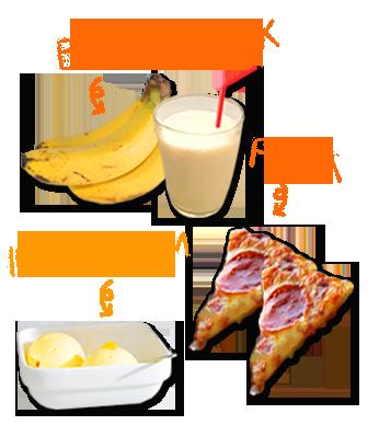 バナナミルク:ピザ:アイスクリーム
